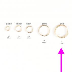 Argola 10mm Folheada a Ouro - Pct  com 10