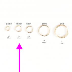Argola 4,5mm Folheada a Ouro - Pct com 1g