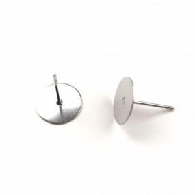 Par de Base de Brinco para Embutir na Massa de Cerâmica Plástica -  em Aço Inoxidável - 10mm