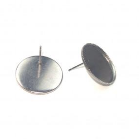 Par de Base de Brinco Redonda para Colagem na Massa de Cerâmica Plástica - em Aço Inoxidável - 20mm